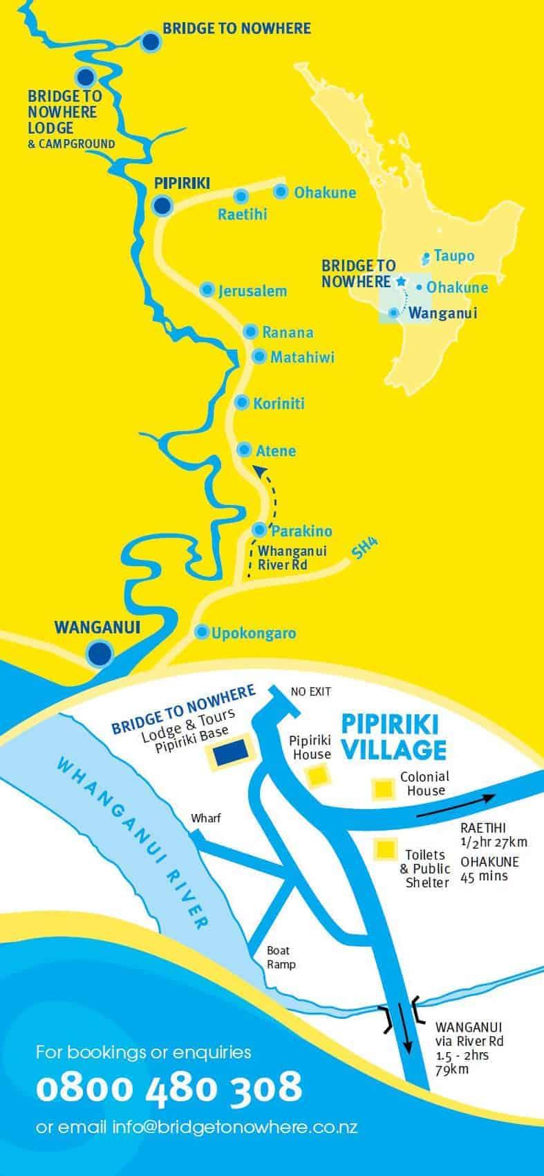 Bridge to Nowhere Tours Map